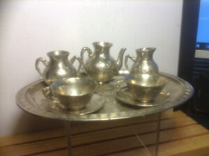 Antique Chinese 6 Pieces Silver Plate Tea Coffee Set