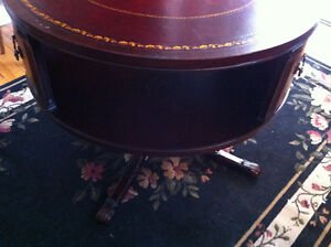 English Rotating Mahogany Drum Table With Embossed Leather Top Peterborough Peterborough Area image 3