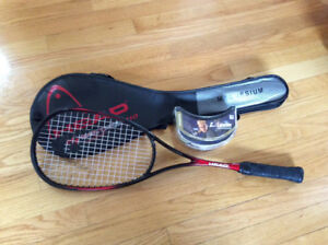 Like new squash racquet and goggles