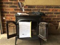 Intrepid wood burning stove in black cast iron