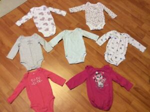 7 Long sleeve baby girl diaper shirts, size 6 months