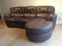 Furniture Village dark purple soft leather sofa, 3 seater, vgc.