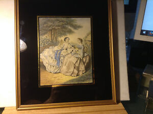 Vintage Glass Art Frame Victorian Lady