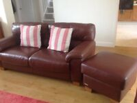 Leather sofa and pouffe
