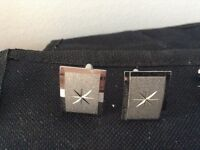 Vintage 1950s 60sTextured Silvertone Etched STAR cufflinks