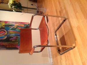 Chairs (6) chairs high end leather tan and chrome  for dining R