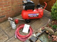 Sealey 50ltr Air Compressor incl 3 spray guns & hose