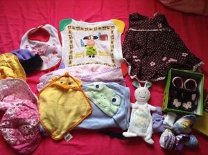 Bundle of 6 months baby girl clothes and various items shoes etc