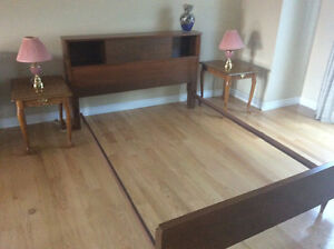 Queen bed frame with side lamps and side tables!