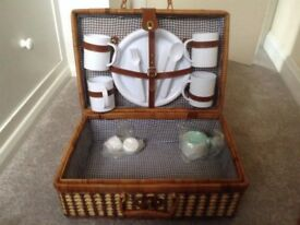 Wicker Picnic Basket including plates cups & cutlery