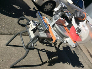 """Dual bevel, sliding compound, 12"""", mitre saw c/w stand on wheels"""