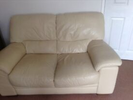 DON'T MISS OUT - 2 X cream Leather 2 seater sofas