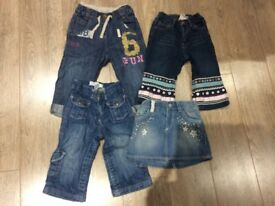 12-18 month girls jeans and skirt