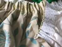 Bespoke, handmade Teal/Gold Flower Pattern Heavy Lined Jacquard Curtains (long drop and width)