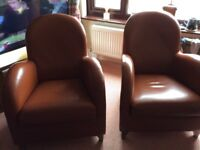2 leather chairs retro