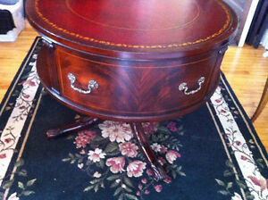 English Rotating Mahogany Drum Table With Embossed Leather Top Peterborough Peterborough Area image 7