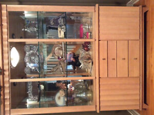 Contemporary Dining Hutch , solid wood with interior lighting