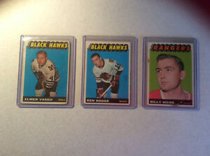 3  1964/65 hockey cards