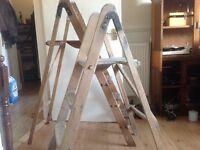 Vintage , two sets of wooden step ladders , bookshelf , retro