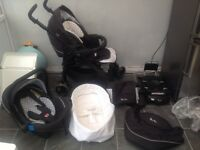 Silver Cross 3D travel system pushchair pram car seat and ISO fix base