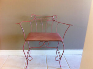 Large Vintage Art Deco Rod Iron Vanity Bench