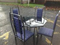 Glass Hexagonal Dining Table & 4 Chairs