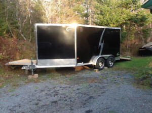NEO black enclosed trailer- with a front side exit door.