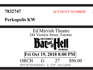 2- Bat Out of Hell Tickets- Fri. Oct 19, 2018