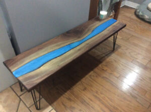 Beautiful Handmade Black Walnut Coffee Table with Blue Epoxy