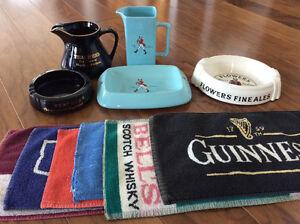 Pub water jugs, ashtrays, matts