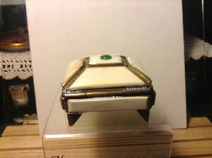 Antiques Chinese Jewelry box on legs and  jade