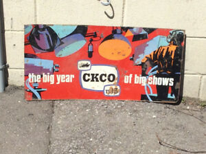 "Antique ""the big year CKCO TV13 of big shows"" tin sign !"