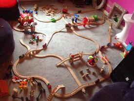 Brio wooden train track set, Thomas the tank , bridges, tunnels,circus, castle, Noah's ark, farm