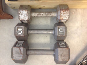 Exercise weights one 15 lb and two 10 lbs