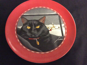 BLACK CAT DECORATIVE PLATE BY LOWELL HERRERO