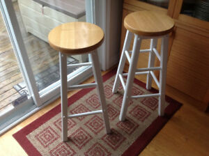 Pair of Solid Wood Bar Stools