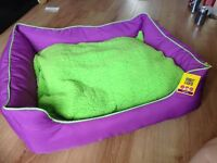 Pets at Home new bright purple lime green dog bed in small or large very comfy and soft