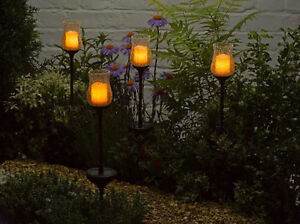 Smart Solar Glass Flickering Candle Stake Lights Pack of 2