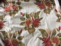 Luxury Bespoke, Handmade Red/green flower lined Jacquard Curtains, long and wide