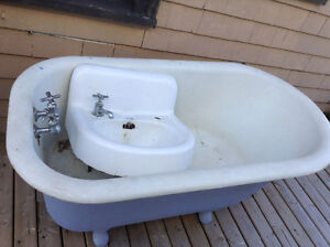 Cast Iron Claw Foot Tub and Cast Iron Sink