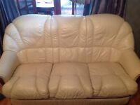 3 seater leather cream sofa for sale