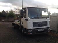 Man 7.5 ton beavertail recovery truck
