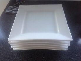 5 white square dinner plates