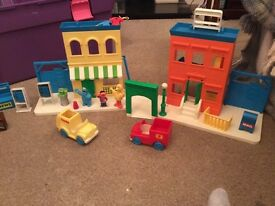 Vintage Sesame Street Tyco House Garage Cars Characters