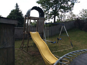 Kids slide with monkey bar and swing