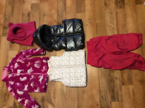 Toddler girl lot, Gap vets, Hatley fleece jacket, splash pants
