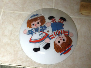 Raggedy Ann and Andy light shade and electrical fixture