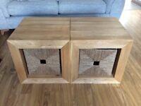 2 Solid Wood Cubes & Storage Baskets