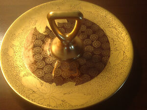 ANTIQUE NORITAKE HAND PAINTED GOLD CANDY DISH WITH A HANDLE