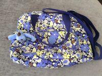 Large blue floral Kipling handbag